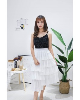 Korea Drawing Flora Adjustable Strap Sleeveless Top (Black)
