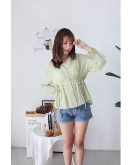 Korea V Collar Self Tie Waist Strap Blouse (Green)