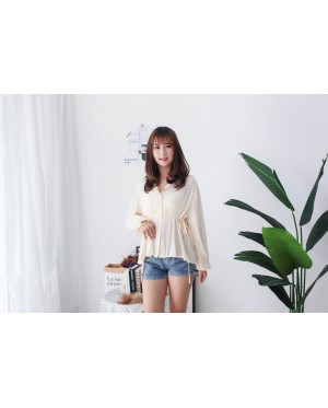 Korea V Collar Self Tie Waist Strap Blouse (Beige)