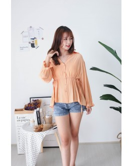 Korea V Collar Self Tie Waist Strap Blouse (Orange)