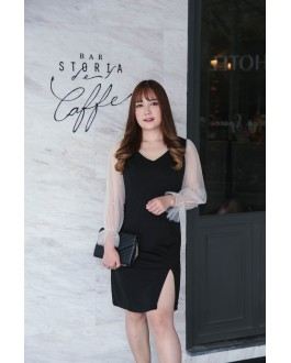 Korea Pearl & Mess Trim Long Sleeve Split Dress (Black) - BACKORDER ETA 28 NOV