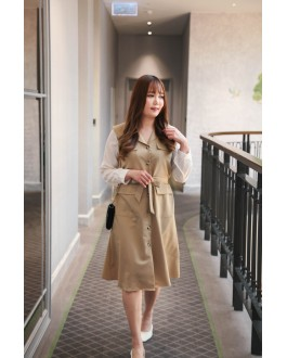 Korea V Neck Button Front Long Sleeve Midi Dress With Belt (Khaki)