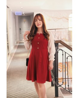 Korea Square Neck Button Front Bling Chiffon Sleeve Dress (Maroon) - BACKORDER ETA 27 NOV