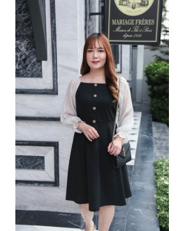 Korea Square Neck Button Front Bling Chiffon Sleeve Dress (Black) - BACKORDER ETA 27 NOV