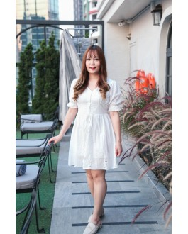 Korea Crochet Button Front Short Sleeve Dress (White)