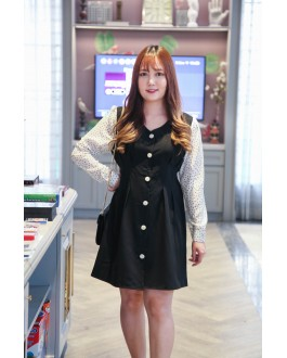 Korea Fake Two Piece Polka Dot V Neck Button Front Ribbon Tie Long Sleeve Dress (Black) - BACKORDER ETA 15 NOV