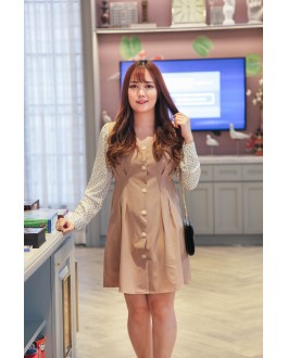 Korea Fake Two Piece Polka Dot V Neck Button Front Ribbon Tie Long Sleeve Dress (Khaki) - BACKORDER ETA 15 NOV