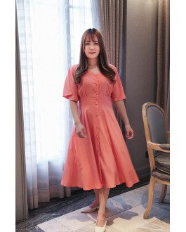 Korea Button Front V Neck Midi Dress (Pink)