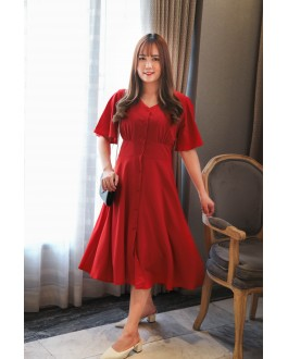 Korea Button Front V Neck Midi Dress (Red)