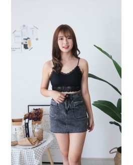 Korea Elastic Double Pocket High Waist Denim Skirt (Black) - BACKORDER ETA 30 NOV
