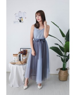 Korea Two Tone Color Ribbon Rubber Waist Midi Mess Skirt (Blue Grey) - BACKORDER ETA 25 NOV