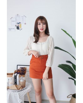 Korea Basic High Waist Denim Skirt With Pocket & Belt (Brown)