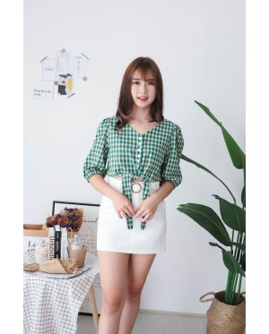 Korea Checks V Neck button Front Ribbon Tie Short Sleeve Top (Green)