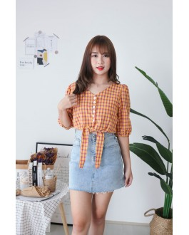 Korea Checks V Neck button Front Ribbon Tie Short Sleeve Top (Mustard) - BACKORDER ETA 30 NOV