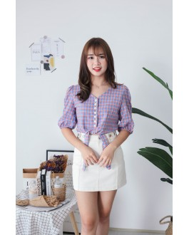 Korea Checks V Neck button Front Ribbon Tie Short Sleeve Top (Purple) - BACKORDER ETA 30 NOV