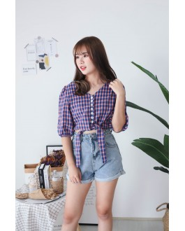 Korea Checks V Neck button Front Ribbon Tie Short Sleeve Top (Blue) - BACKORDER ETA 30 NOV