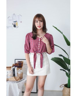 Korea Checks V Neck button Front Ribbon Tie Short Sleeve Top (Red) - BACKORDER ETA 30 NOV