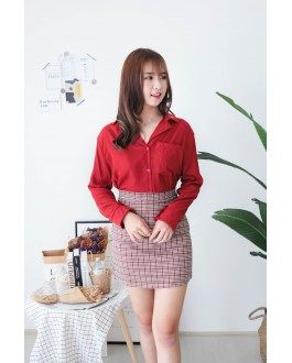Korea Single Pocket V Collar Long Sleeve Blouse (Maroon) - BACKORDER ETA 25 NOV
