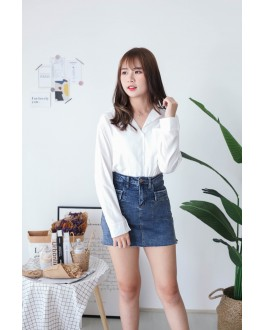 Korea Single Pocket V Collar Long Sleeve Blouse (White) - BACKORDER ETA 25 NOV
