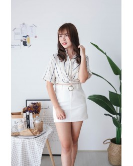Korea Stripe Knot Button Front Rubber Waist Top (Beige) - BACKORDER ETA 25 NOV