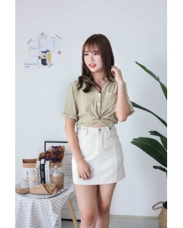 Korea Stripe Knot Button Front Rubber Waist Top (Green)