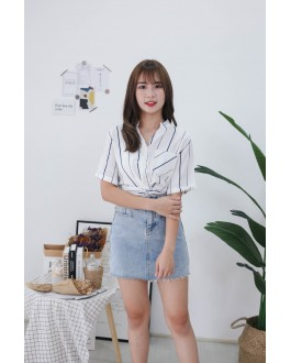 Korea Stripe Knot Button Front Rubber Waist Top (White) - BACKORDER ETA 30 NOV