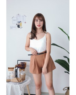 Korea V Neck Adjustable Strap Sleeveless Top (White)
