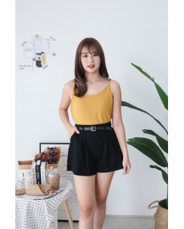 Korea V Neck Adjustable Strap Sleeveless Top (Mustard)