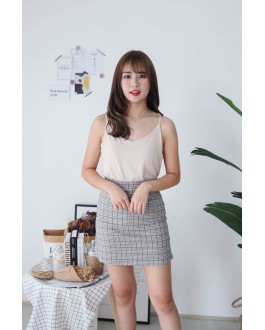 Korea V Neck Adjustable Strap Sleeveless Top (Beige) - BACKORDER ETA 25 NOV
