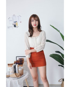 Korea Crochet Hollow Lace Button Front Long Sleeve Top (Beige) - BACKORDER ETA 1 DEC