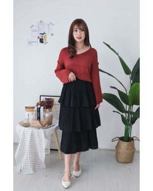 Korea V Neck Long Sleeve Knit Top (Brown) - BACKORDER ETA 25 NOV