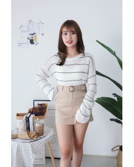 Korea Stripe Long Sleeve Knit Top (White) - BACKORDER ETA 30 NOV
