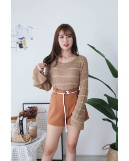 Korea Stripe Long Sleeve Knit Top (Khaki) - BACKORDER ETA 25 NOV