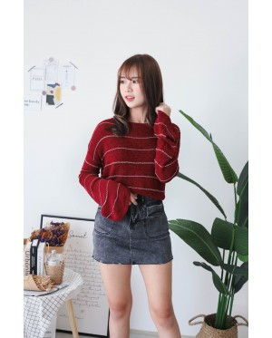 Korea Stripe Long Sleeve Knit Top (Maroon) - BACKORDER ETA 30 NOV