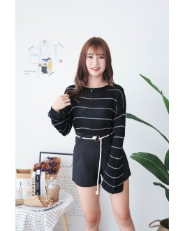Korea Stripe Long Sleeve Knit Top (Black) - BACKORDER ETA 30 NOV