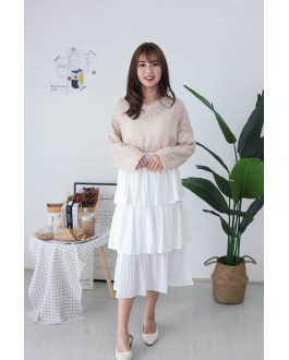 Korea Crochet Hollow V Neck Long Sleeve Knit Top (Khaki) - BACKORDER ETA 25 NOV