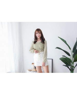 Korea Drawstring Long Sleeve Top (Green)