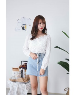 Korea Drawstring Long Sleeve Top (White) - BACKORDER ETA 25 NOV