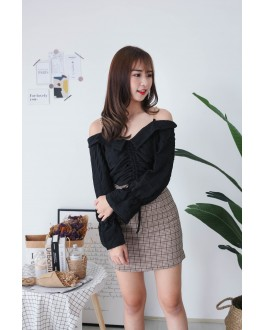 Korea Chain Drawstring Cold Shoulder Top (Black) - BACKORDER ETA 30 NOV