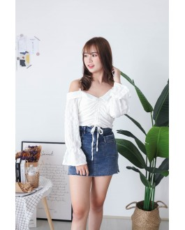 Korea Chain Drawstring Cold Shoulder Top (White) - BACKORDER ETA 25 NOV