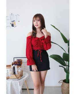Korea Chain Drawstring Cold Shoulder Top (Maroon) - BACKORDER ETA 30 NOV