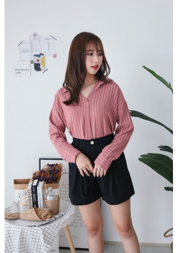 Korea Stripe V Collar Oversize Long Sleeve Blouse (Brick)