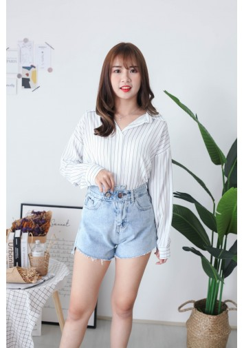 Korea Stripe V Collar Oversize Long Sleeve Blouse (White)