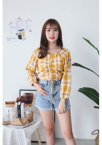 Korea Checks Drawstring Long Sleeve Blouse (Mustard)