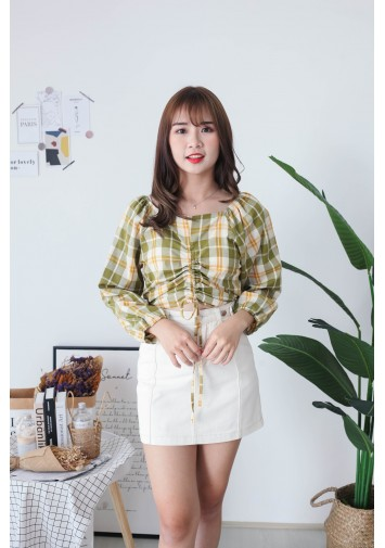 Korea Checks Drawstring Long Sleeve Blouse (Green)