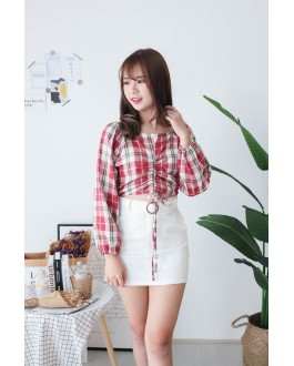 Korea Checks Drawstring Long Sleeve Blouse (Red) - BACKOREDER ETA 02 DEC