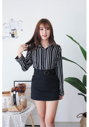 Korea Stripe Long Sleeve Blouse (Black)