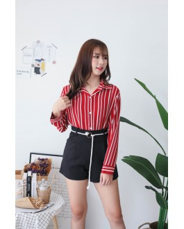 Korea Stripe Long Sleeve Blouse (Red)