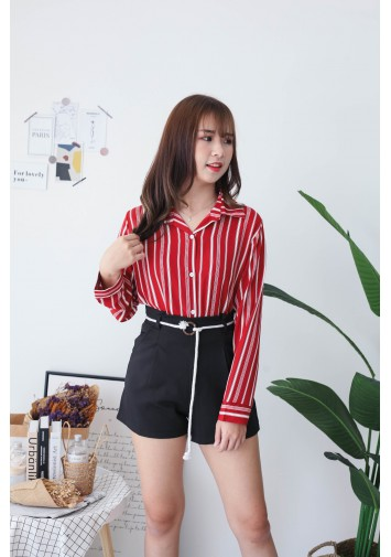 Korea Stripe Long Sleeve Blouse (Red) - BACKORDER ETA 02 DEC