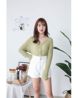 Korea Crochet Hollow Shell Button Front Long Sleeve Short Knit Top (Green)